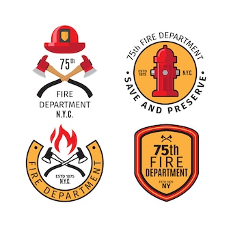 Emblemi del pompiere e distintivi del corpo dei vigili del fuoco