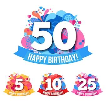Emblemi di anniversario con le congratulazioni di buon compleanno