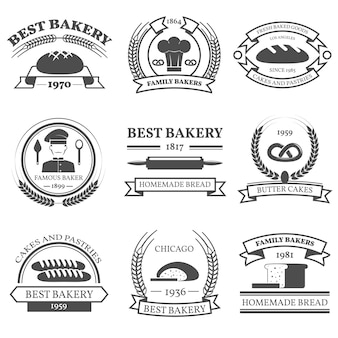 Emblemi di black white bakery set