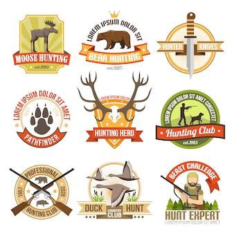 Emblemi di caccia a colori piatti