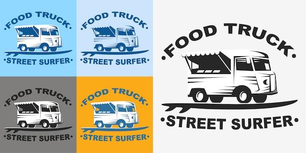 Emblemi di camion di cibo e logo con tavola da surf. camion di cibo surfer di strada.