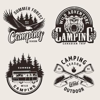 Emblemi di campeggio estivo vintage