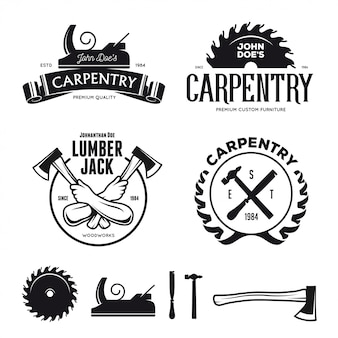 Emblemi di carpenteria, badge, elementi