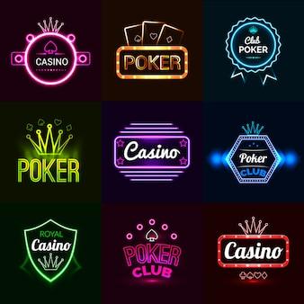 Emblemi di casinò al neon