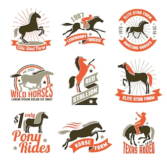 Emblemi di etichette di allevamento di cavalli impostati