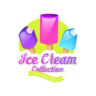Emblemi di gelato, etichetta o distintivo