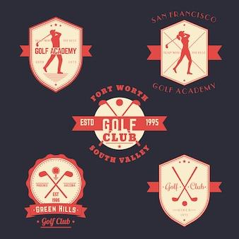 Emblemi di golf vintage, loghi, badge impostati