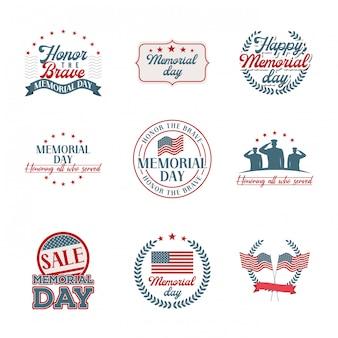 Emblemi di memorial day impostati