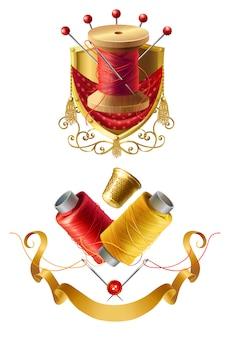 Emblemi di sarto realistico 3d. icona dell'atelier reale con bobina in legno con fili, aghi per