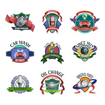 Emblemi di servizio meccanico auto impostato