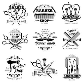 Emblemi ed etichette di vettore del negozio di barbiere dell'annata. distintivi e loghi del barbiere