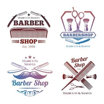 Emblemi luminosi del negozio di barbiere - etichette del salone di haircute degli uomini