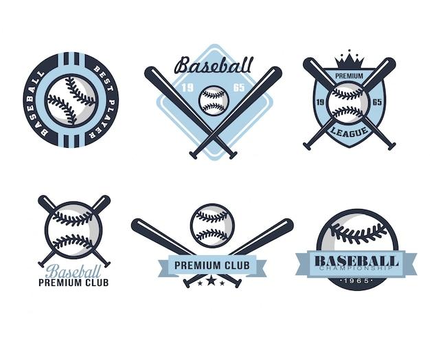 Emblemi o distintivi di baseball con vari disegni