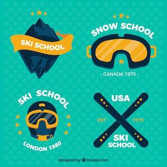 Emblemi pacchetto di scuole di sci