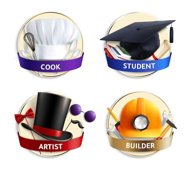 Emblemi realistici di cappelli di diverse professioni