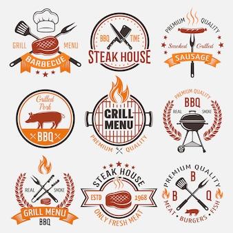 Emblemi stile retrò barbecue
