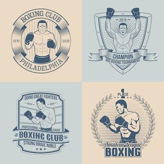 Emblemi sul tema boxe - rotondo, triangolare, rettangolare. loghi sportivi con boxer.
