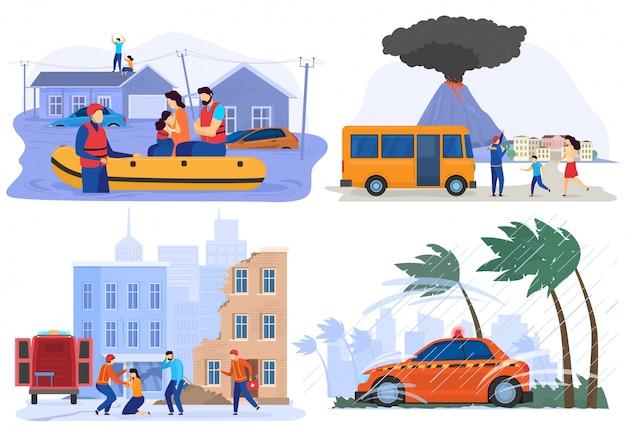 Emergenza evacuazione di persone da calamità naturali, inondazioni, terremoti, illustrazione vettoriale
