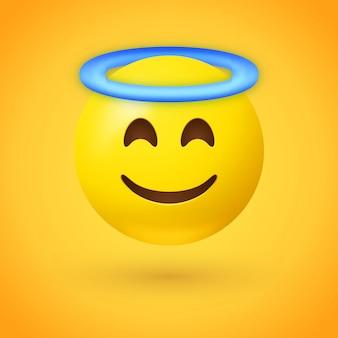 Emoji angelo con aureola blu sopra la testa