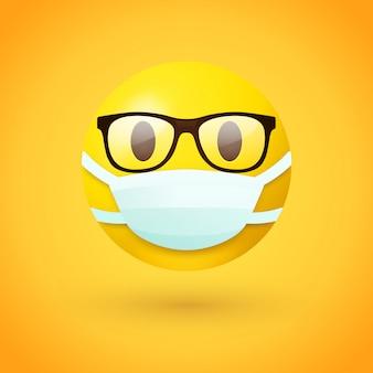 Emoji con gli occhiali che indossa la maschera per la bocca