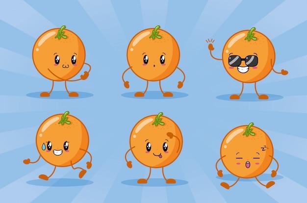 Emoji di arance kawaii felici