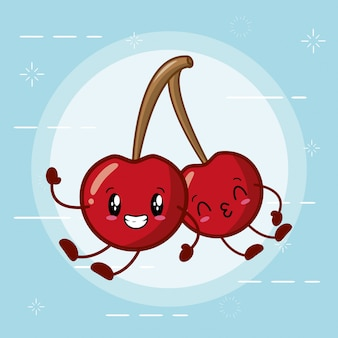 Emoji di ciliegie kawaii felici