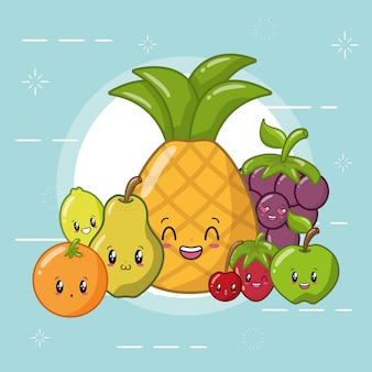 Emoji di frutta kawaii felici