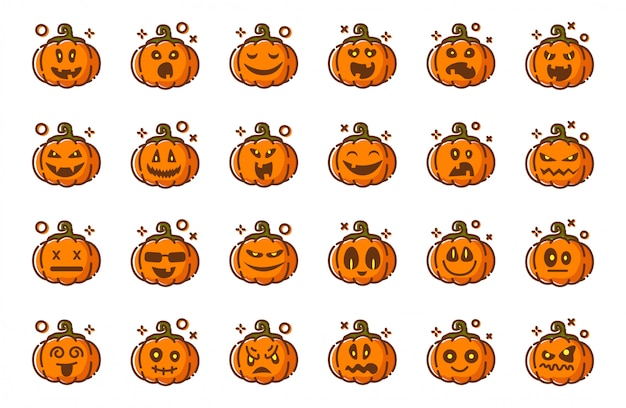 Emoji di zucche per halloween, isolato, icone su bianchi, personaggi inquietanti divertenti