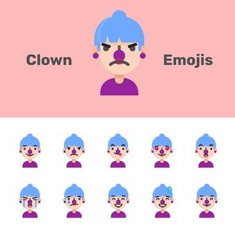 Emoji femminili del pagliaccio di halloween