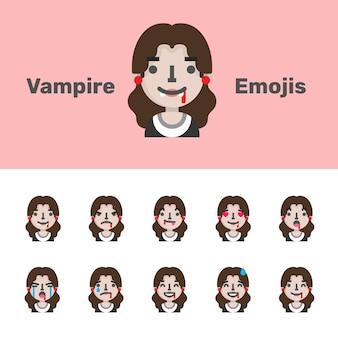 Emoji femminili del vampiro di halloween