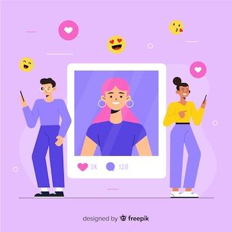 Emoji fluttuanti con persone che apprezzano le foto del profilo