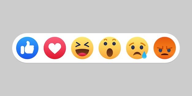 Emoji icona di reazioni di facebook