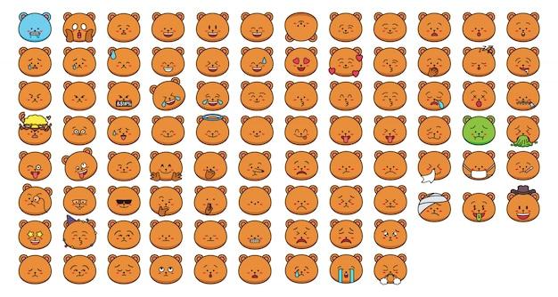 Emoticon adesivi orso dei cartoni animati