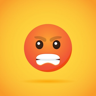 Emoticon cartoon emoji smile per social media su orange. illustrazione