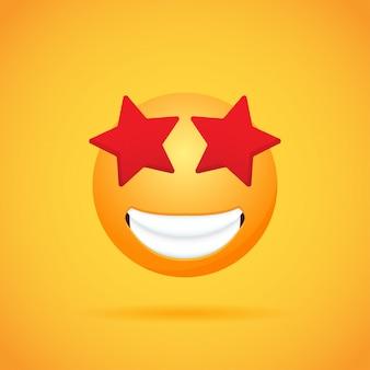 Emoticon cartoon emoji smile per social media su orange. illustrazione