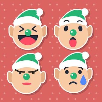 Emoticon cute elf impostato per la stagione natalizia