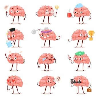Emoticon di cervello emozione vettoriale cartone animato espressione emoticon intelligente e intelligenza emoji studiare amorevole o piangere illustrazione brainstorming set di uomo d'affari kawaii isolato