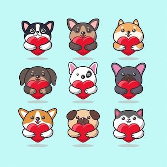 Emoticon di cura simpatici animali del cane kawaii che abbraccia un cuore rosso