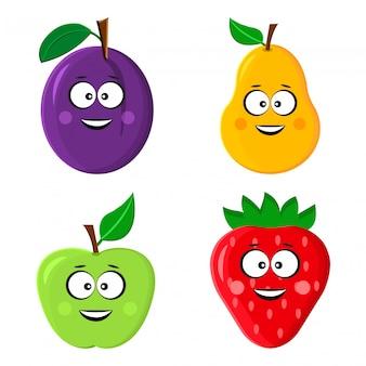 Emoticon divertente frutta. prugna, pera, mela e fragola.