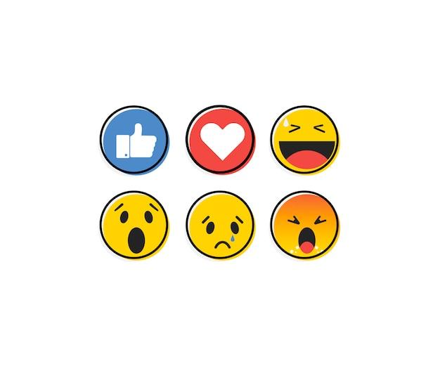 Emoticon emoji in stile piano, set di icone, raccolta di social media