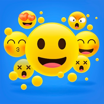 Emoticon gialle collezione di emoji dei cartoni animati.
