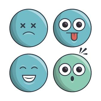 Emoticon insieme di raccolta espressione diversa