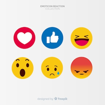 Emoticon piatto reazione collectio