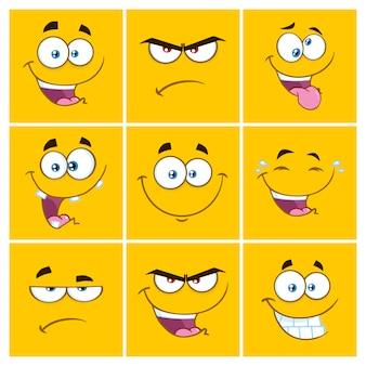 Emoticon quadrati gialli del fumetto con l'insieme di espressione