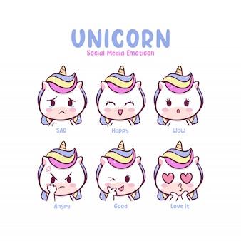 Emoticon social media unicorn carino