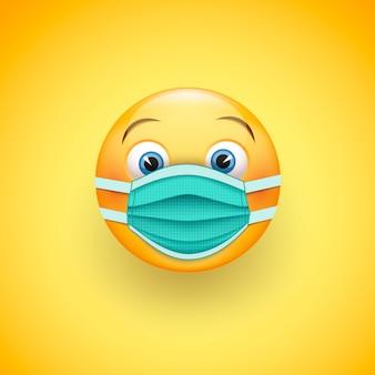 Emoticon sorriso in maschera chirurgica protettiva.