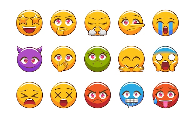 Emoticon vector set clipart