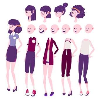 Emozione di carattere ragazza, capelli e abbigliamento insieme