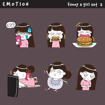 Emozione divertente una ragazza impostata 2