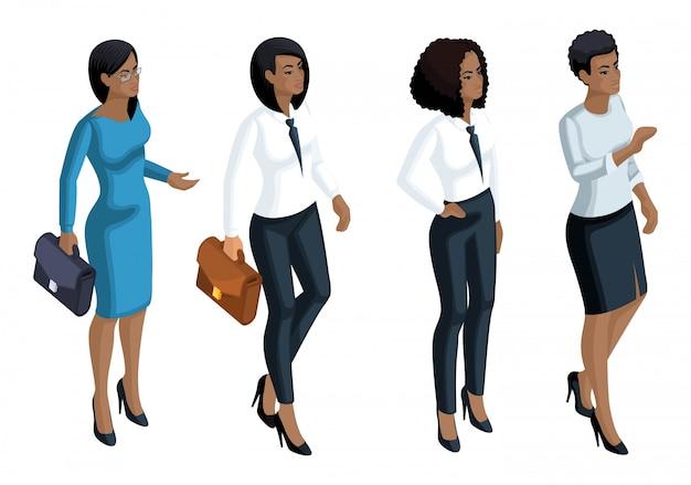 Emozioni di icone isometriche una donna afro-americana, donna d'affari, direttore generale, avvocato. espressione del viso, trucco. qualitativo per le illustrazioni